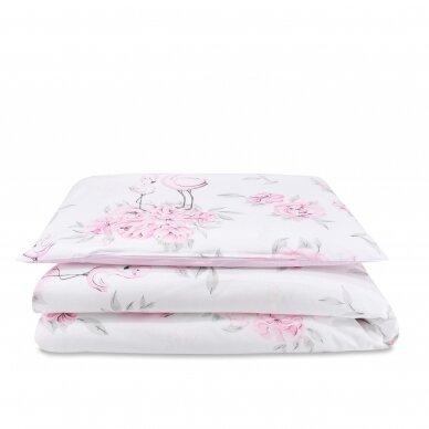 """Antialerginės patalynės komplektas """"Flamingai"""", 140x200cm (rožinė)"""