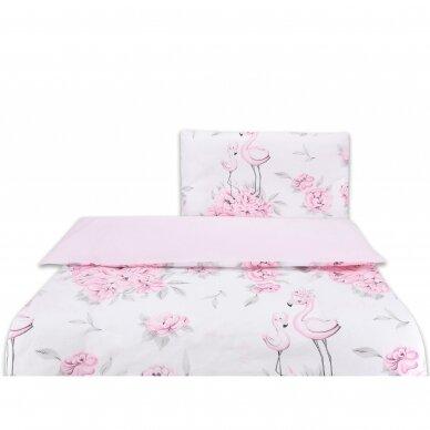 """Antialerginės patalynės komplektas """"Flamingai"""", 140x200cm (rožinė) 2"""