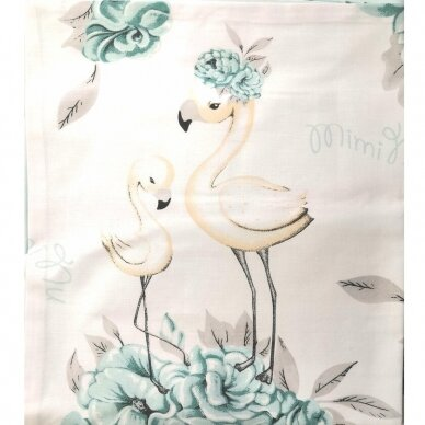 """Antialerginės patalynės komplektas """"Flamingai"""", 140x200cm (mėtinė) 3"""