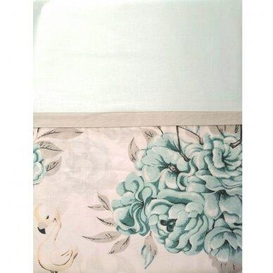 """Antialerginės patalynės komplektas """"Flamingai"""", 140x200cm (mėtinė) 4"""