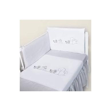 """Antialerginis patalynės komplektas """"Mašinėlės"""", 100x135 cm (balta/pilka)"""