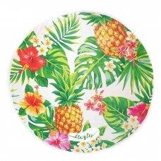 """Apvalus mikropluošto paplūdimio rankšluostis su kutais """"Ananasai"""", 150x150 cm"""