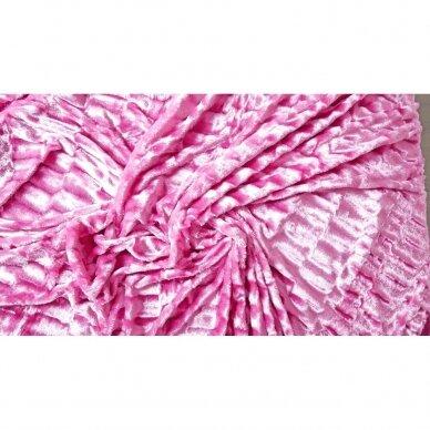 """Bambukinis pledas-lovos užtiesalas """"Rožinė Klajonė"""", 220x220 cm 2"""