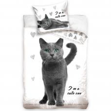 "Dvipusis patalynės komplektas ""Blue kitty"", 140x200 cm"
