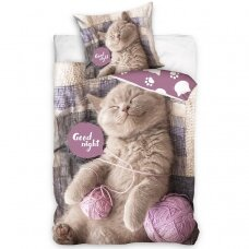 "Dvipusis patalynės komplektas ""Sleeping kitty"", 140x200 cm"