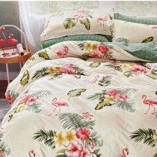 """Dvipusis patalynės komplektas """"Flamingų pavasaris"""", 3 dalių, 200x220 cm"""