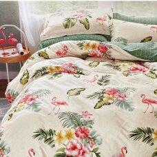 """Dvipusis patalynės komplektas """"Flamingų pavasaris"""", 4 dalių, 200x220 cm"""