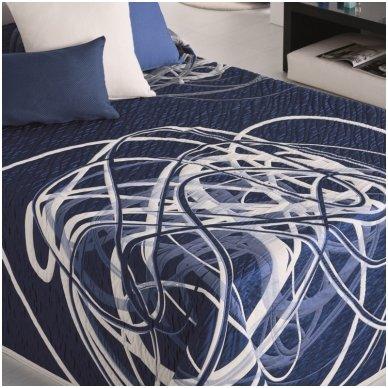"""Dvipusis lovos užtiesalas """"BLUE-WHITE"""", 250 x 270 cm."""