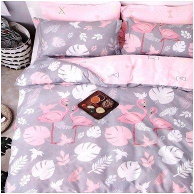 """Dvipusis patalynės komplektas """"Flamingo istorija"""", 3 dalių, 200x220 cm"""
