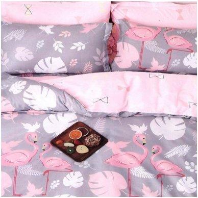 """Dvipusis patalynės komplektas """"Flamingo istorija"""", 3 dalių, 200x220 cm 2"""