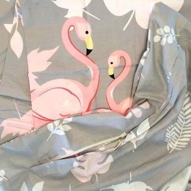 """Dvipusis patalynės komplektas """"Flamingo istorija"""", 3 dalių, 200x220 cm 3"""