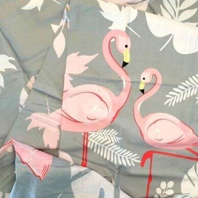 """Dvipusis patalynės komplektas """"Flamingo istorija"""", 3 dalių, 200x220 cm 6"""