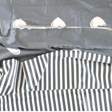 """Dvipusis patalynės komplektas """"Pilkosios širdelės"""", 2 dalių, 140x200 cm 4"""
