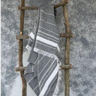 Lengvas lininis rankšluostis (black), 110x200 cm