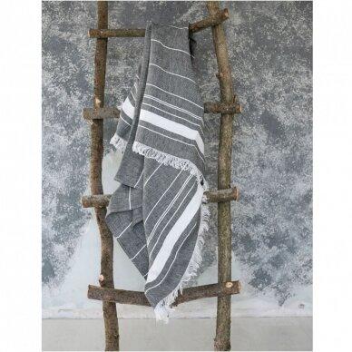 Lengvas lininis rankšluostis (black), 110x200 cm 2