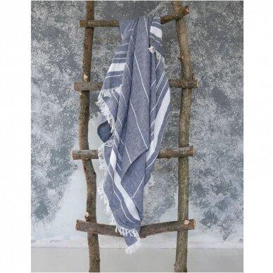 Lengvas lininis rankšluostis (blue), 110x200 cm 2