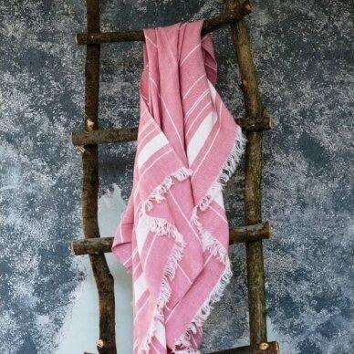 Lengvas lininis rankšluostis (rose), 110x200 cm