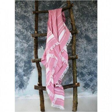 Lengvas lininis rankšluostis (rose), 110x200 cm 2