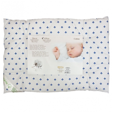 Medvilninė pagalvė kūdikiui, 40x60 cm (mėlynas raštas)
