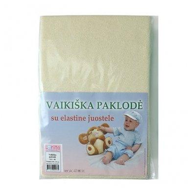 Medvilninė trikotažinė paklodės su elastine juostele, 60x120 cm (smėlio)