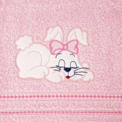 "Medvilninis rankšluostis ""Kiškutis (rožinis)"", 70x140 cm 3"