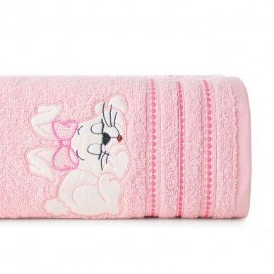 "Medvilninis rankšluostis ""Kiškutis (rožinis)"", 70x140 cm"