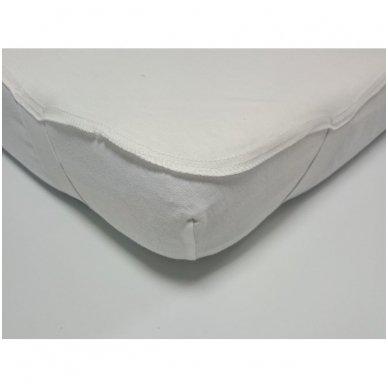 Neperšlampanti medvilninė paklodė su gumelėmis kampuose, 60x120 cm (balta) 3