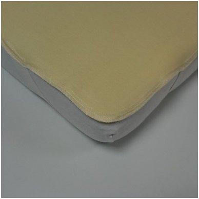 Neperšlampanti medvilninė paklodė su gumelėmis kampuose, 60x120 cm (geltona) 3