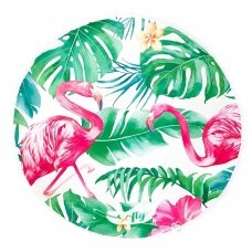 """Apvalus mikropluošto paplūdimio rankšluostis su kutais """"Flamingai"""", 150x150 cm"""