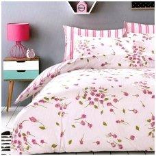 """Dvipusis patalynės komplektas """"Rožiniai žiedeliai"""", 2 dalių, 140x200 cm"""