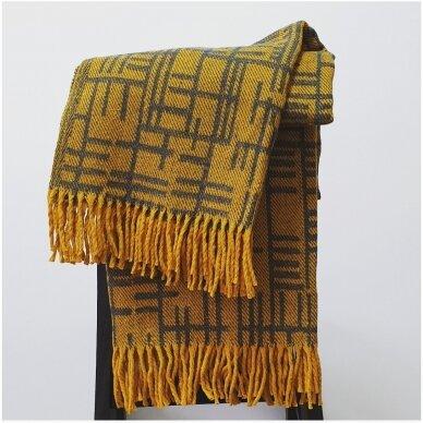 "Vilnonis pledas ""Merino Yellow"", 130x190 cm 4"