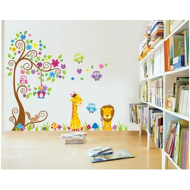 """Sienos lipdukas """"Žirafos ir Liūto Medis"""", 160x200 cm 4"""
