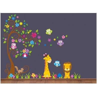 """Sienos lipdukas """"Žirafos ir Liūto Medis"""", 160x200 cm 3"""