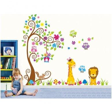 """Sienos lipdukas """"Žirafos ir Liūto Medis"""", 160x200 cm 2"""