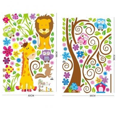 """Sienos lipdukas """"Žirafos ir Liūto Medis"""", 160x200 cm 5"""