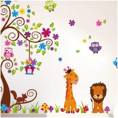 """Sienos lipdukas """"Žirafos ir Liūto Medis"""", 160x200 cm"""