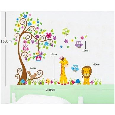 """Sienos lipdukas """"Žirafos ir Liūto Medis"""", 160x200 cm 6"""