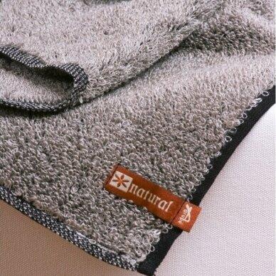"""Šiurkštus lininis rankšluostis """"Natural"""" (natūrali lino/juoda)"""