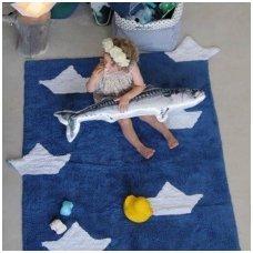 "Skalbiamas kilimas ""Laiveliai"" (mėlyna)"