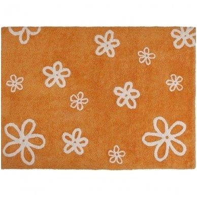 """Skalbiamas kilimas """"Gėlytės"""" (oranžinė) 2"""