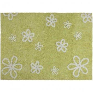 """Skalbiamas kilimas """"Gėlytės"""" (žalia) 2"""