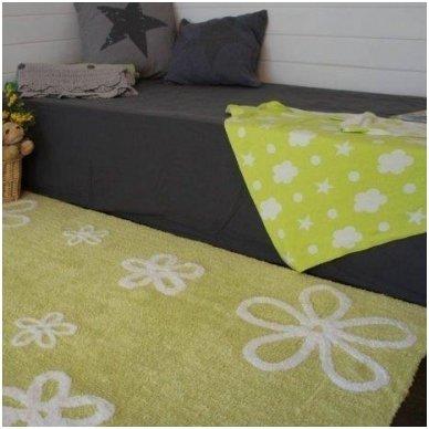 """Skalbiamas kilimas """"Gėlytės"""" (žalia)"""