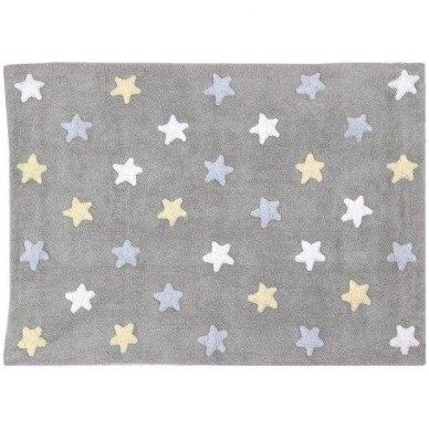 """Skalbiamas kilimas """"Spalvotos Žvaigždutės"""" (pilka/melsva) 2"""