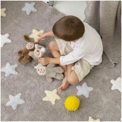 """Skalbiamas kilimas """"Spalvotos Žvaigždutės"""" (pilka/melsva) 3"""