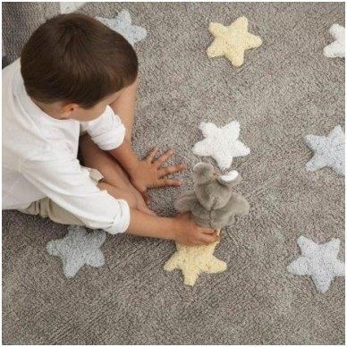 """Skalbiamas kilimas """"Spalvotos Žvaigždutės"""" (pilka/melsva) 4"""