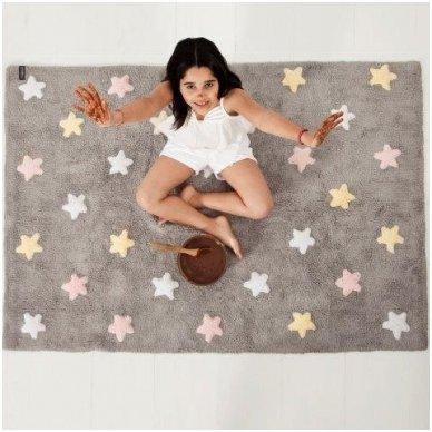 """Skalbiamas kilimas """"Spalvotos žvaigždutės"""" (pilka/rausva)"""