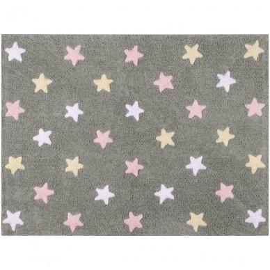 """Skalbiamas kilimas """"Spalvotos žvaigždutės"""" (pilka/rausva) 2"""