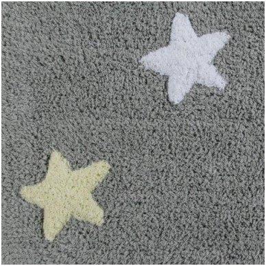 """Skalbiamas kilimas """"Spalvotos žvaigždutės"""" (pilka/rausva) 3"""