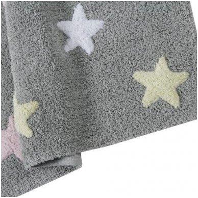 """Skalbiamas kilimas """"Spalvotos žvaigždutės"""" (pilka/rausva) 5"""