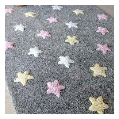 """Skalbiamas kilimas """"Spalvotos žvaigždutės"""" (pilka/rausva) 10"""